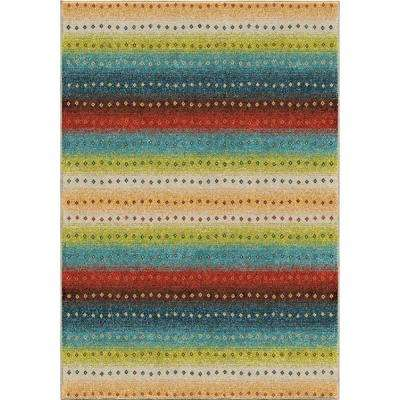 Sable Stripes Multi 5 ft. x 8 ft. Indoor/Outdoor Area Rug