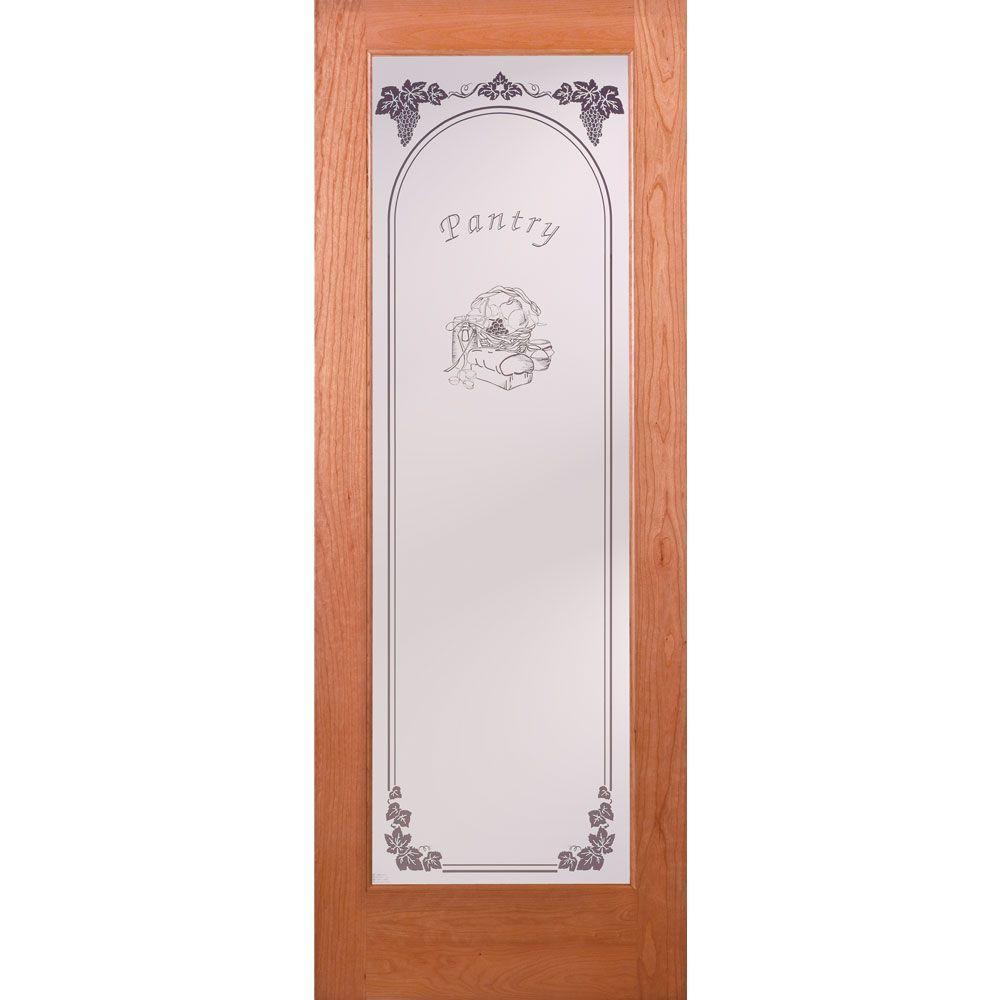 Feather River Doors 36 in. x 80 in. Pantry Woodgrain 1 Lite Unfinished Cherry Interior Door Slab