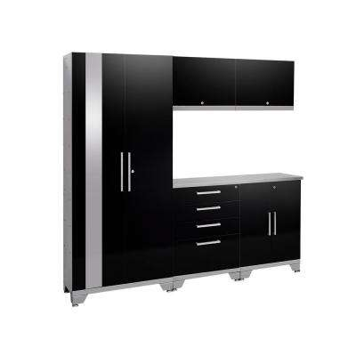 Performance 2.0 72 in. H x 78 in. W x 18 in. D Steel Garage Cabinet Set (6-Piece) in Black with Stainless Steel Top