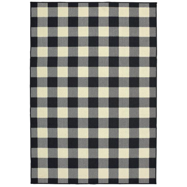 Sienna Buffalo Check Black-Ivory 5 ft. 3 in. x 7 ft. 6 in. Indoor/Outdoor Area Rug