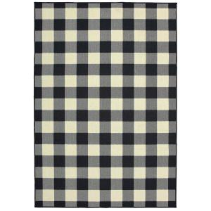 Sienna Buffalo Check Black-Ivory 7 ft. 10 in. x 10 ft. 10 in. Indoor/Outdoor Area Rug