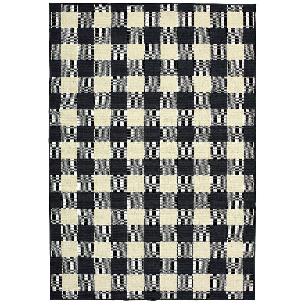 Clio Ivory/Black 8 ft. x 10 ft. Buffalo Check Indoor/Outdoor Area Rug