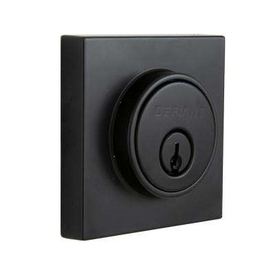 Contemporary Matte Black Square Double Cylinder Deadbolt
