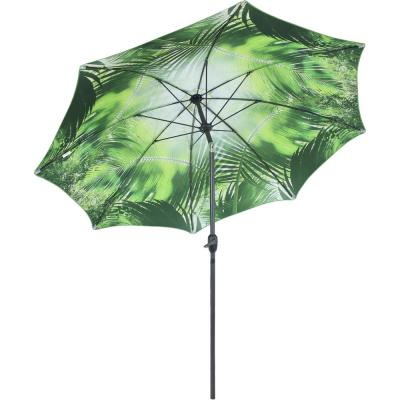 8 ft. Inside Out Market Push Button Tilt and Crank Patio Umbrella in Green Tropical Leaf Design