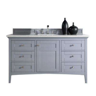 Palisades 60 in. W Single Vanity in Silver Gray with Quartz Vanity Top in Snow White with White Basin