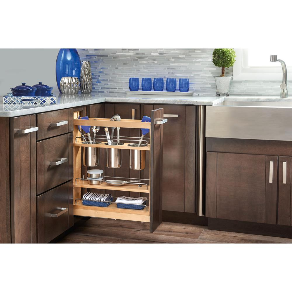 Kitchen Base Cabinet Pull Outs Part - 32: D Pull-Out Wood Base Cabinet Utensil Organizer With 3 Bins And Soft-Close  Slides-448UT-BCSC-5C - The Home Depot