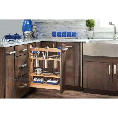 25.5 in. H x 5.5 in. W x 21.625 in. D Pull-Out Wood Base Cabinet Utensil Organizer with 3 Bins and Soft-Close Slides
