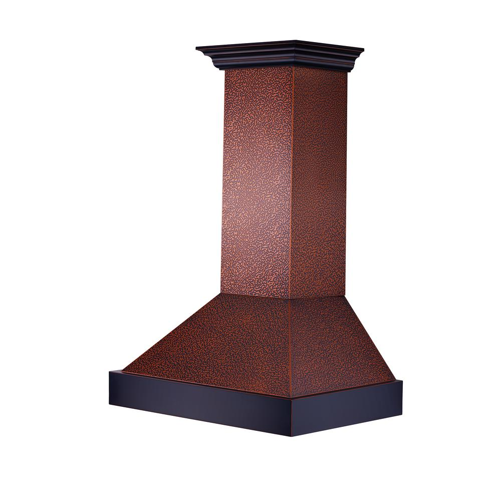 Zline Kitchen And Bath Zline 36 In. 1200 Cfm Wall Mount Range Hood In Embossed Copper