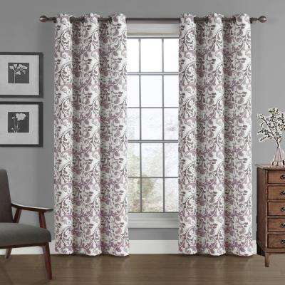 Scroll Crushed Microfiber Panel in Dusty Lilac - 40 in. W x 84 in. L