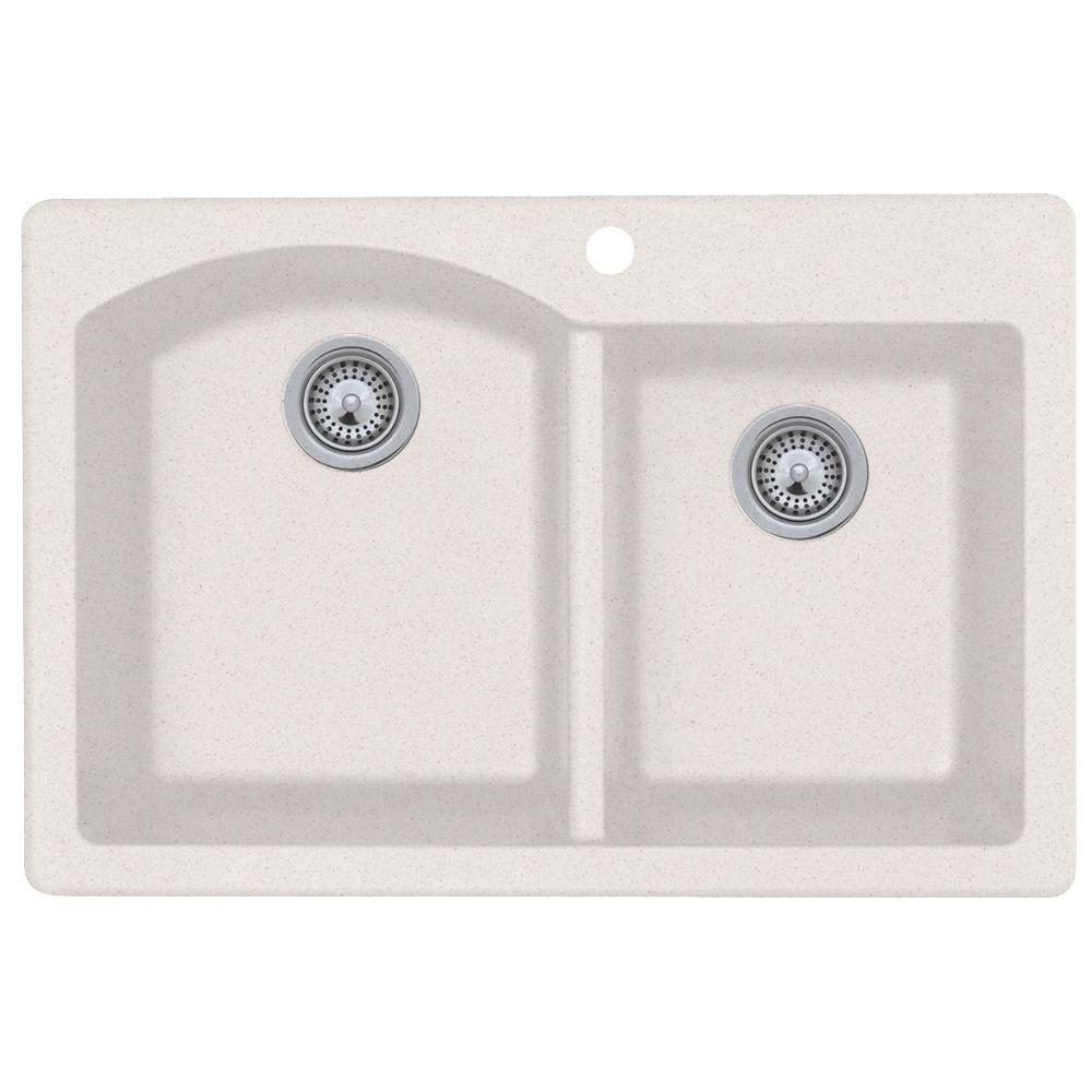 Dual Mount Granite 33 in. 1-Hole Double Basin Kitchen Sink in Bianca