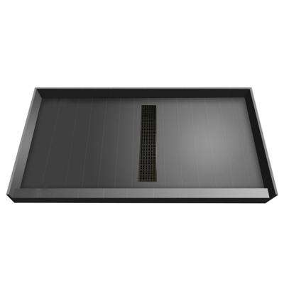 36 in. x 60 in. Single Threshold Shower Base with Center Drain in Gray and Oil Rubbed Bronze Trench Grate