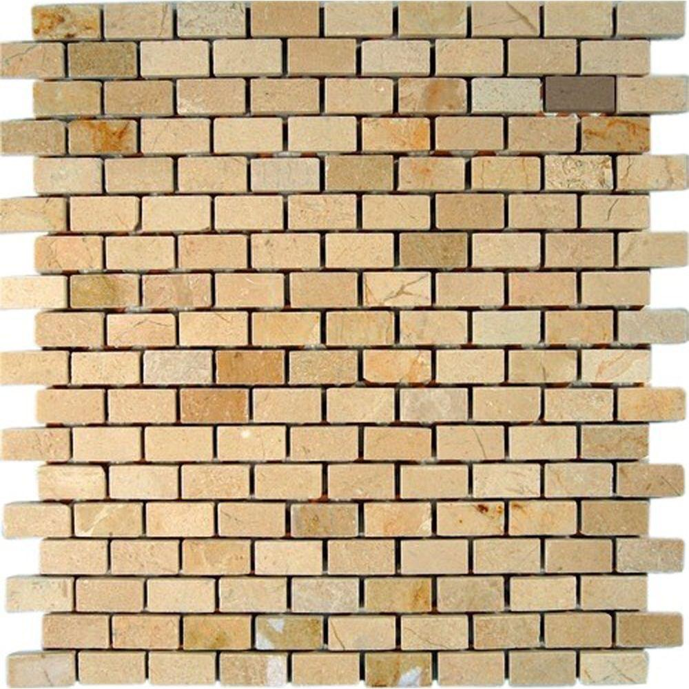 Ivy Hill Tile Crema Marfil Bricks 12 in. x 12 in. x 8 mm Marble Floor and Wall Tile