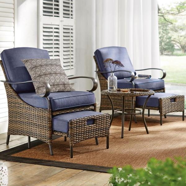 Hampton Bay Layton Pointe 5 Piece Brown Wicker Outdoor Patio Conversation Seating Set With Cushionguard Sky Blue Cushions L19006b 2 The Home Depot