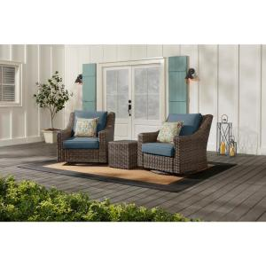 Rock Cliff Brown 3-Piece Wicker Outdoor Patio Seating Set with Sunbrella Denim Blue Cushions