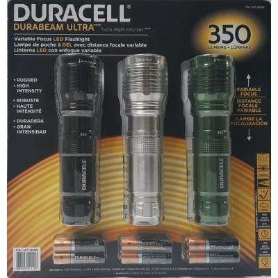 Durabeam Ultra 350 Lumen Flashlight Set With Zoom Focus and Batteries (3-Pack)