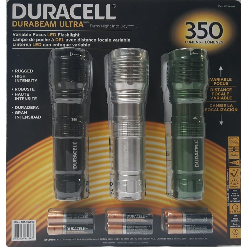Durabeam Ultra 350 Lumen Flashlight Set With Zoom Focus and Batteries (3-Pack)