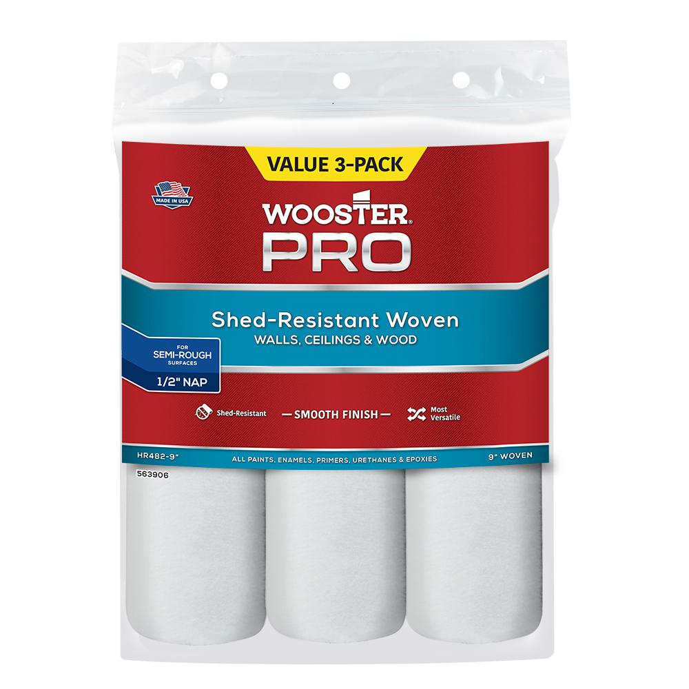Wooster 9 in. x 1/2 in. High-Density Woven Acrylic Roller Covers (3-Pack) (Case of 6)