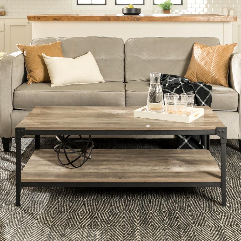 Angle Iron Rustic Wood Coffee Table - Grey Wash