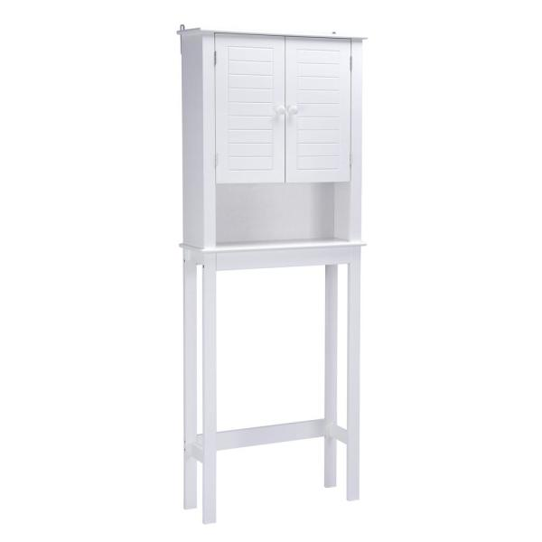 Cary V 9 in. W x 24 in. D x 63 in. H Over the Toilet Bath Storage Cabinet in White