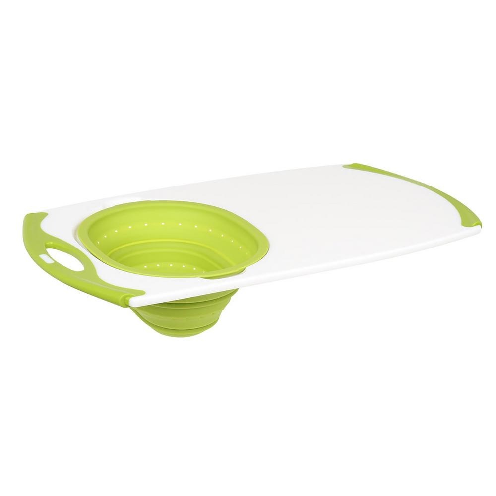 White and Green Over The Sink Strainer Grippboard Polypropylene and Silicone