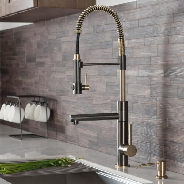 Artec Pro Single-Handle Pull Down Sprayer Kitchen Faucet with Pot Filler in Black Stainless/Brushed Gold