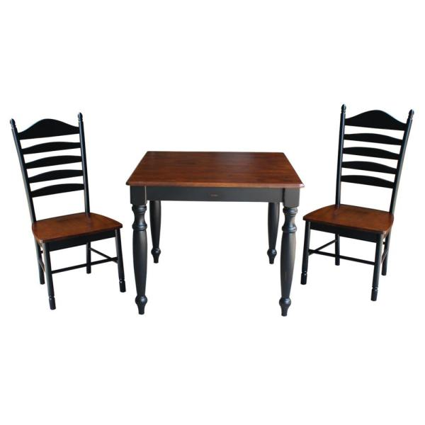 International Concepts Farmhouse 3-Piece Rubbed Black and Espresso Dining Set