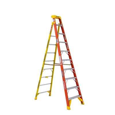 LEANSAFE 10 ft. Fiberglass Leaning Step Ladder with 300 lbs. Load Capacity Type IA Duty Rating