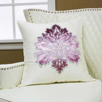 Damask Rhinestone Ivory Stud Pillow