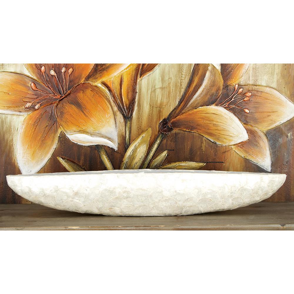 Long Contemporary White Capiz Shell Bowl