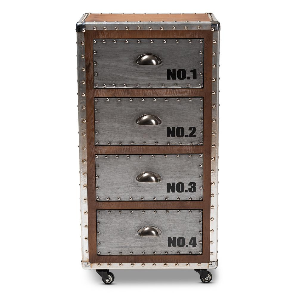 Avere 4-Drawer Silver and Golden Oak Chest