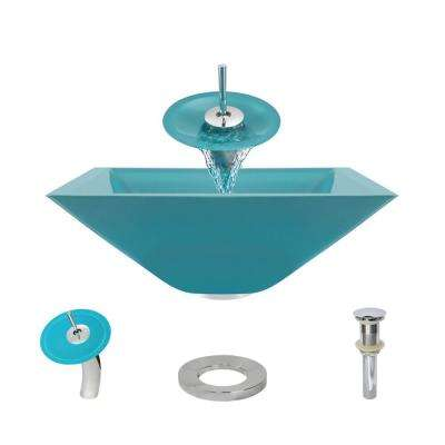 Glass Vessel Sink in Cerulean with Waterfall Faucet and Pop-Up Drain in Chrome