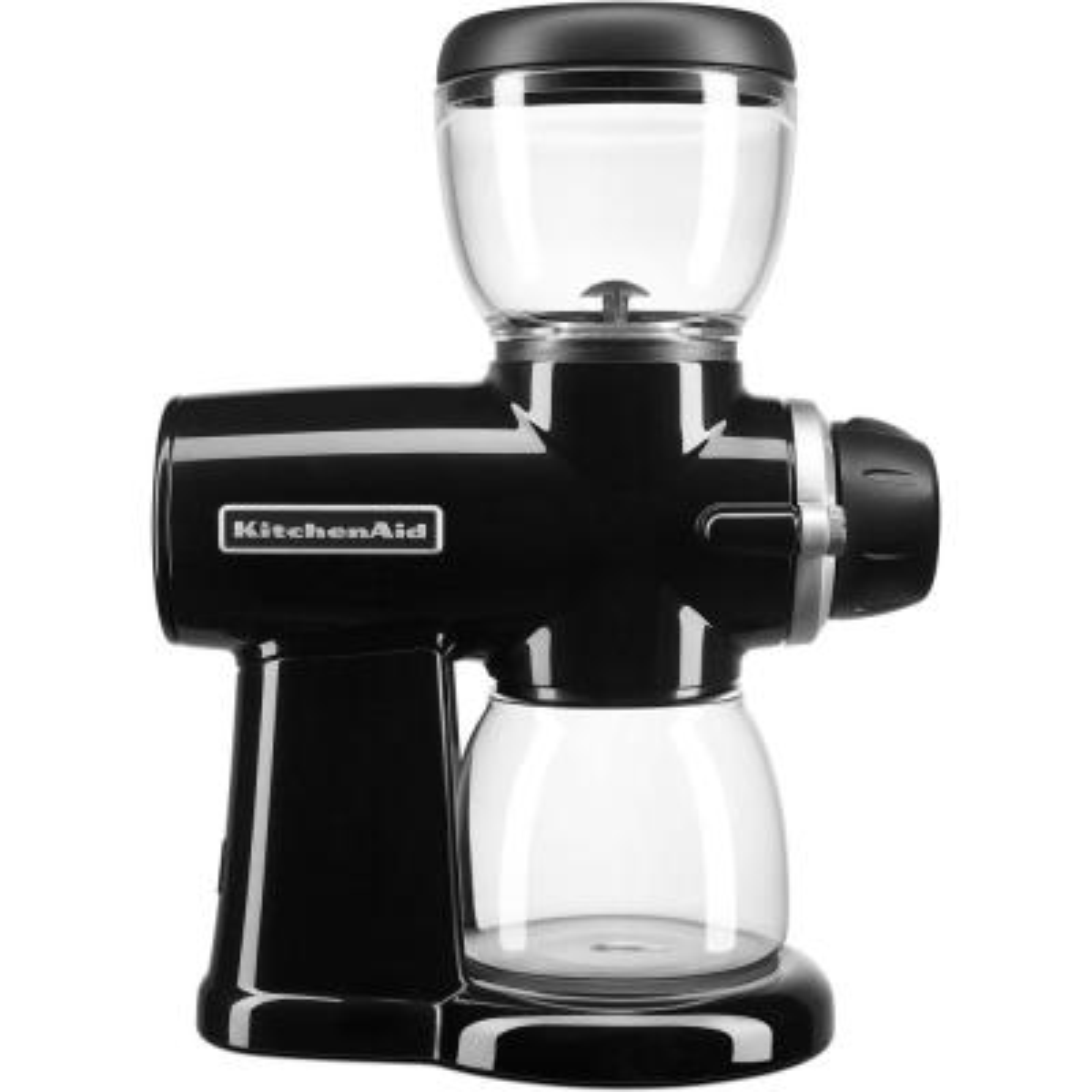 7 oz. Onyx Black Burr Coffee Grinder with Adjustable Settings