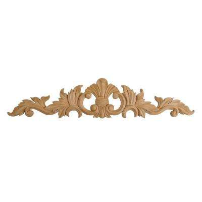 3-7/8 in. x 18-1/4 in. x 1/2 in. Unfinished Hand Carved North American Solid Cherry Wood Onlay Acanthus Wood Applique