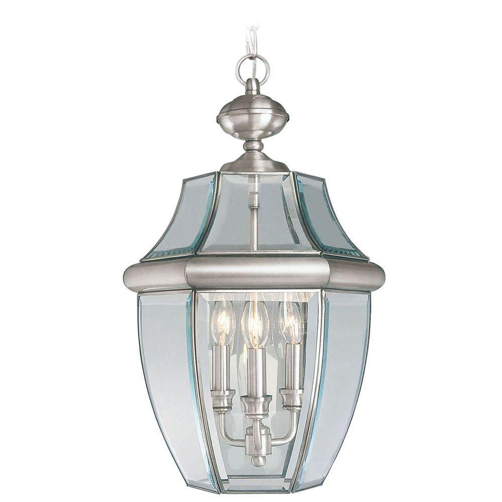 Monterey 3 Light Brushed Nickel Outdoor Pendant Lantern
