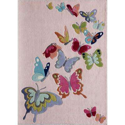 Lil Mo Whimsy Butterfly Pink 2 ft. x 3 ft. Indoor Kids Area Rug