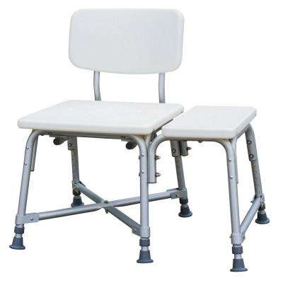 Bath Safety Bariatric Transfer Bench with Back in White