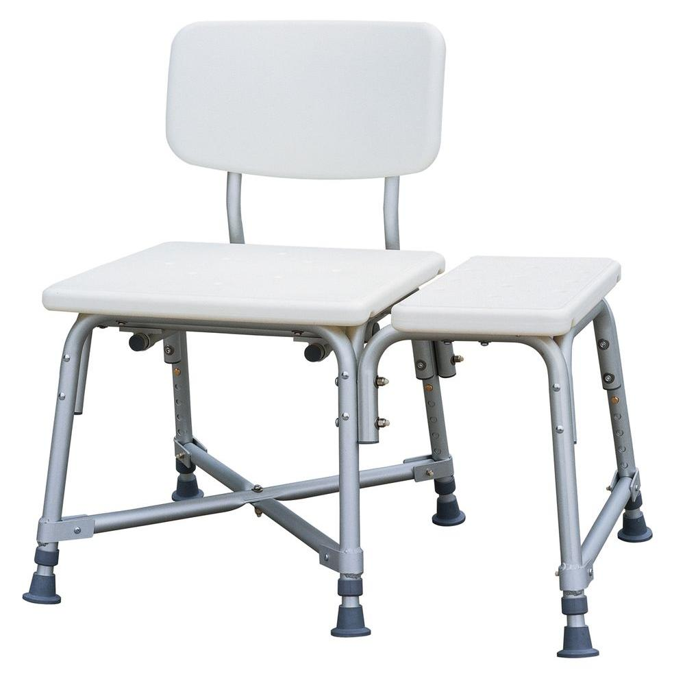Medline Bath Safety Bariatric Transfer Bench with Back in White ...