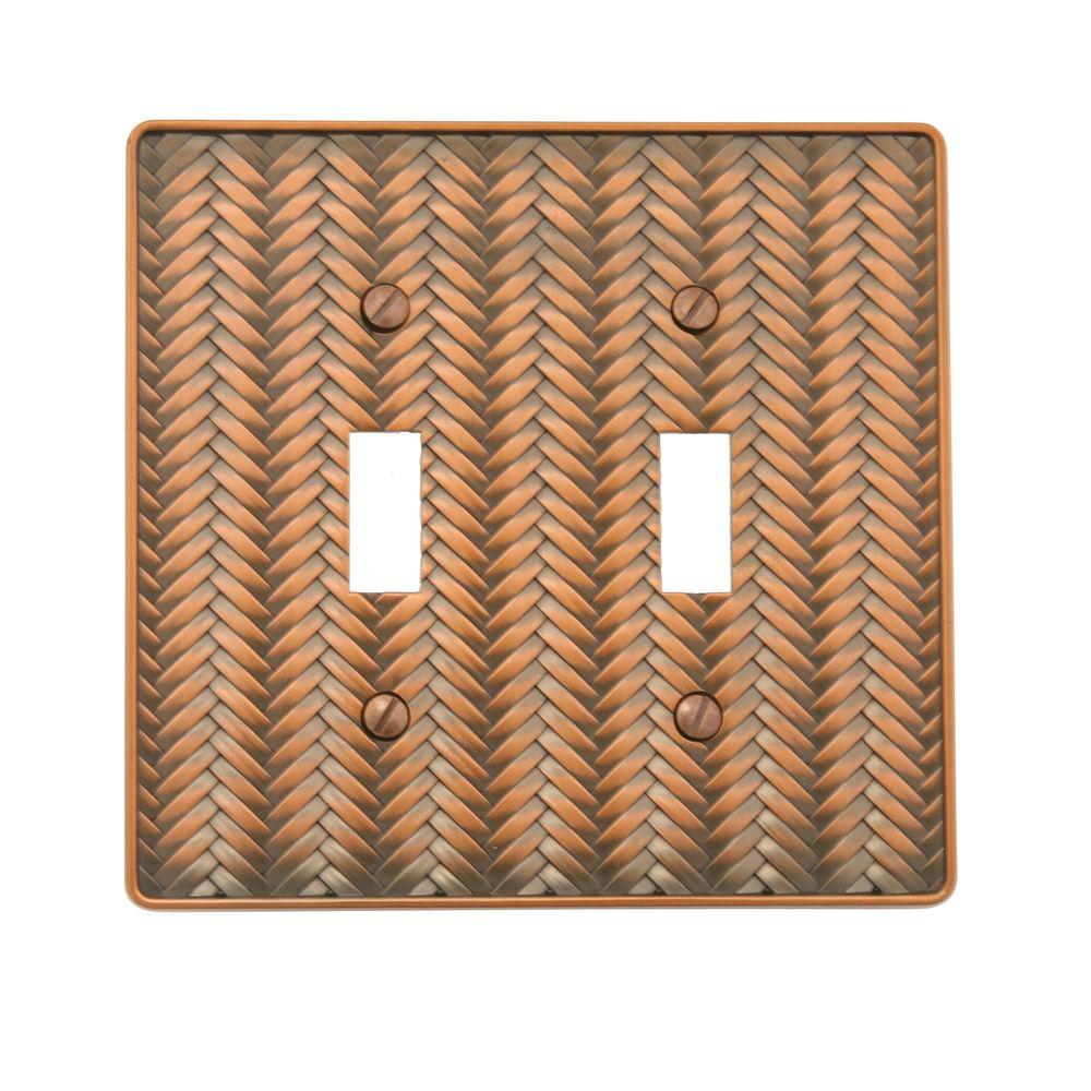 Weave 2 Toggle Wall Plate - Antique Copper