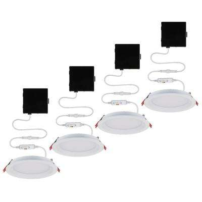 Slim Baffle 6 in. Color Selectable New Construction and Remodel Canless Recessed Integrated LED Kit (4-Pack)