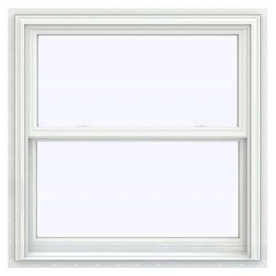 35.5 in. x 35.5 in. V-2500 Series White Vinyl Double Hung Window with BetterVue Mesh Screen