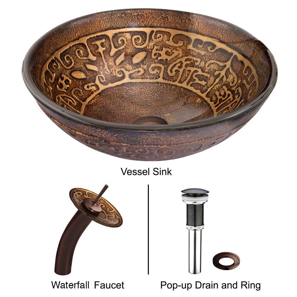 VIGO Golden Greek Vessel Sink in Browns with Waterfall Faucet in Oil Rubbed Bronze by VIGO