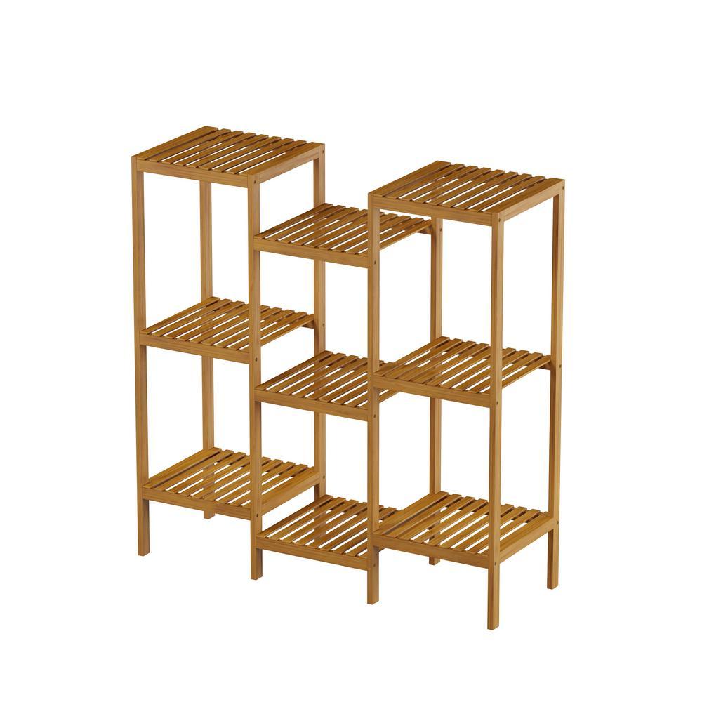 Pure Garden Bamboo Indoor Outdoor 9 Shelf Storage Rack Shelving