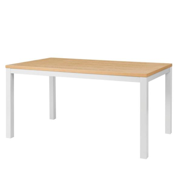 Donnelly White Metal Rectangular Dining Table for 6 with Natural Finish Top (60 in. L x 30 in. H)