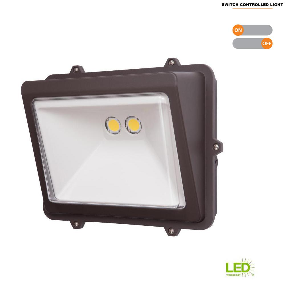 Led Wall Pack With Emergency: Halo 76-Watt Bronze Outdoor Integrated LED Wall Pack Light