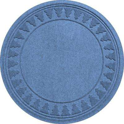 Aqua Shield Medium Blue 35 in. Round Pine Trees Under the Tree Mat