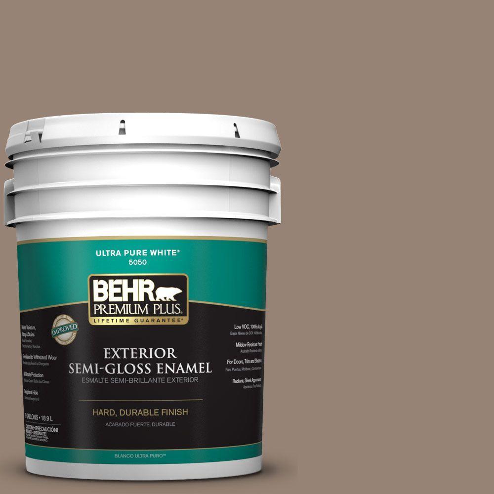 BEHR Premium Plus 5-gal. #N230-5 Dry Brown Semi-Gloss Enamel Exterior Paint