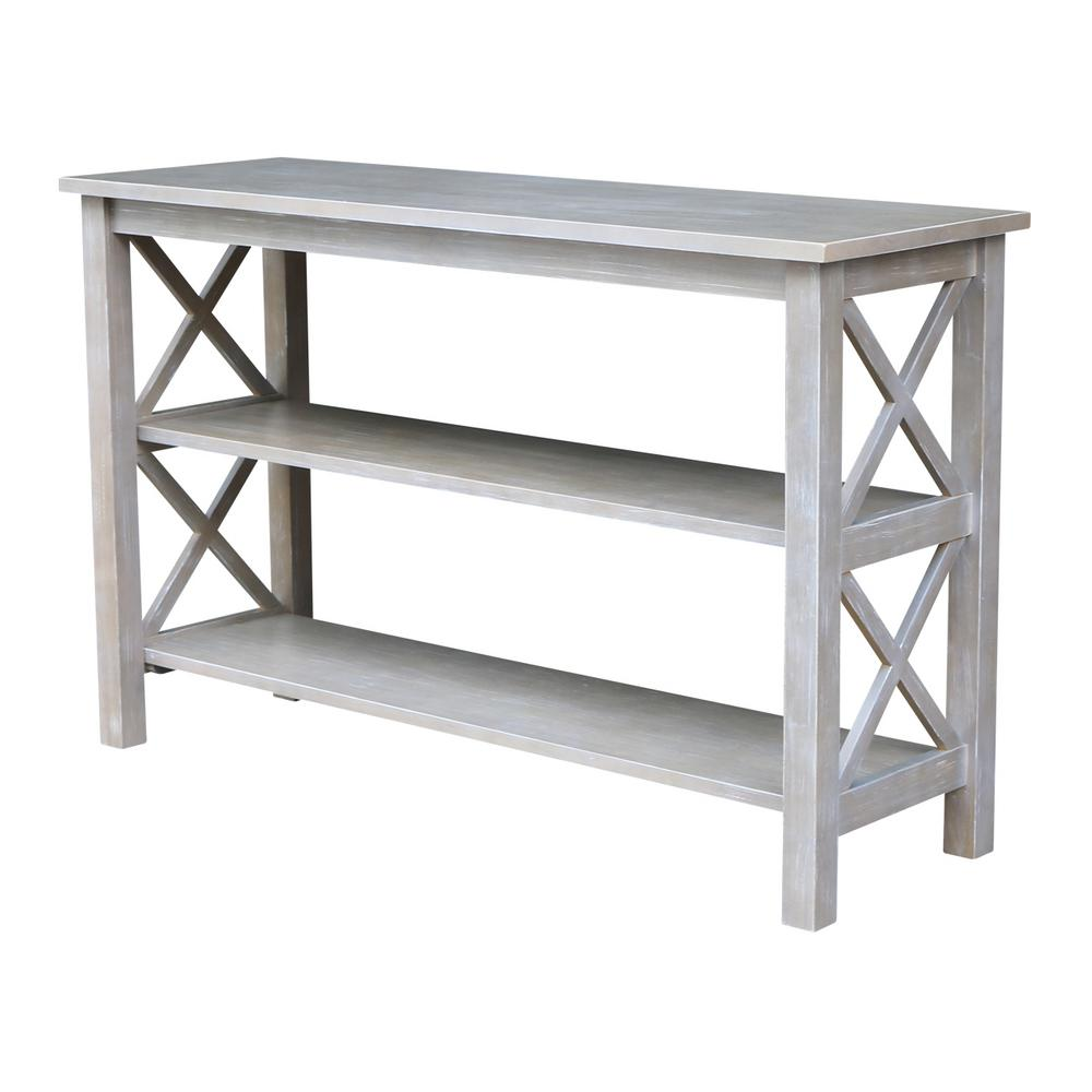 Whitewood industriess industries hampton weathered grey for Sofa table grey