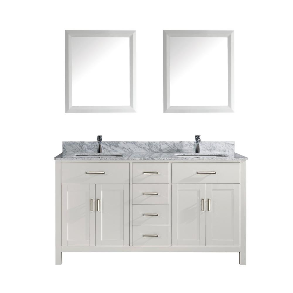Studio Bathe Kalize 63 in. Vanity in White with Marble Vanity Top in Carrara White and Mirror