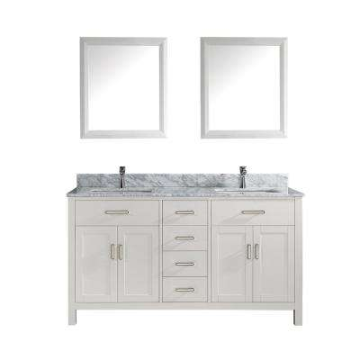 Kalize 63 in. Vanity in White with Marble Vanity Top in Carrara White and Mirror
