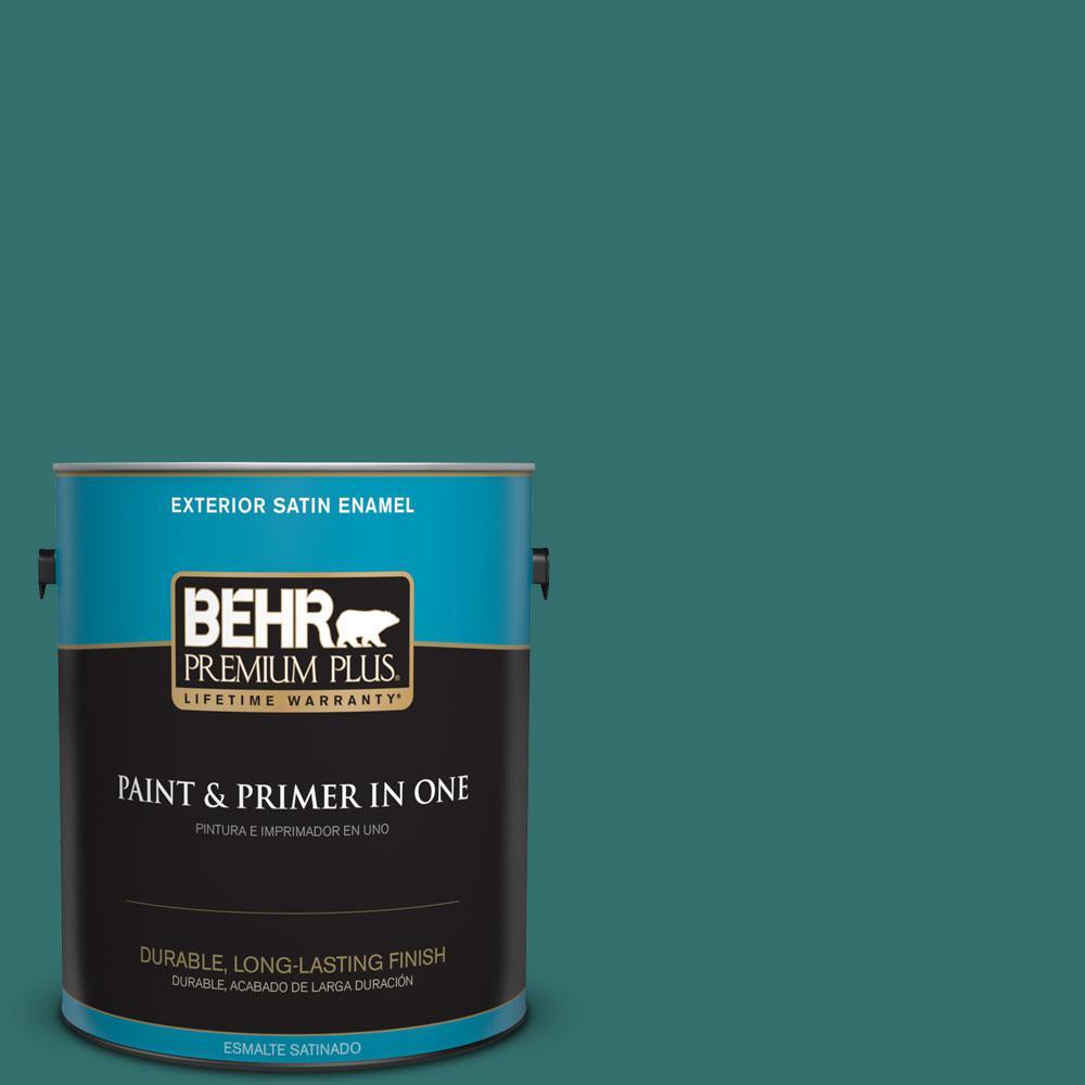 BEHR Premium Plus 1-gal. #500D-7 Caribbean Green Satin Enamel Exterior Paint